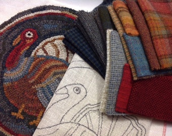 """Rug Hooking KIT for """"Talking Turkey"""" Chair Pad or Table Mat 14"""" Round, K106, Primitive Rug Hooking, Thanksgiving"""
