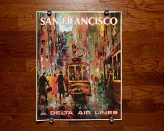 vintage 60s Delta Air Lines poster San Francisco Jack Laycox painting artwork street car 1960 travel poster 0432-01098 28x22