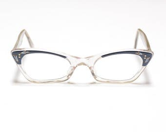 vintage 50s 60s cat eye glasses clear blue plastic frame 1950 1960 eyewear rockabilly atomic eyeglasses
