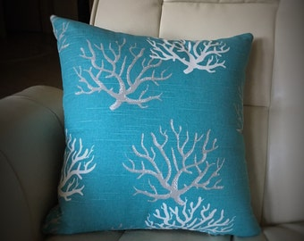 Beach Decor // Tropical Coral on Turquoise Pillow Cover
