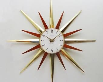 Starburst Wall Clock, Phinney Walker, Sunburst Mid Century Modern, Atomic Era - Disassembles