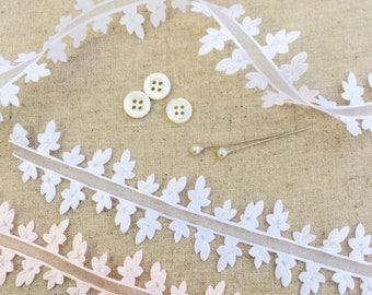 Leaf Ribbon. Wedding Ribbon. White Leaf. Summer Wedding Ideas. Botanical ribbon