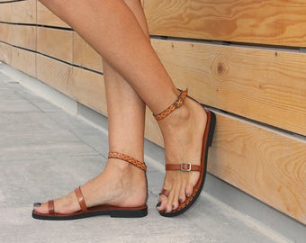 Ankle Strap Sandals, Toe Ring Sandals, Barefoot Sandals, Strappy Sandals, Handmade Sandals - BEST FRIENDS