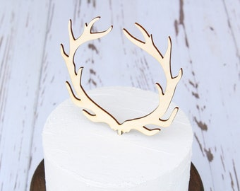 Antler Cake Topper Rustic Wedding Cake Topper Buck and Doe Wedding Country Wedding Wood Cake Topper Wedding Cake Topper