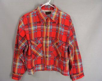 Red Plaid Jacket. vintage 60s 70s Denim Jacket. Jean Shirt JCP. Button Front, Long Front Pockets. Bright Red. Cool. Unisex Jacket size M L