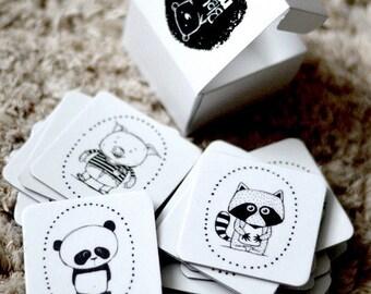 Memory game in box Memory card Matching game Illustrated card Raccoon Teddy bear Panda Black white Scandinavian style Animals Zoo