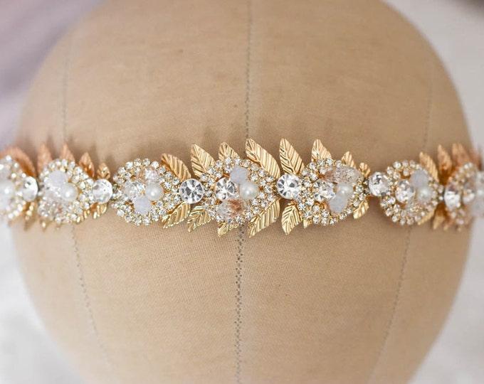 Wedding Tiara, Gold Rhinestone Headband, Rhinestone Pearl Headpiece, Gold Leaf Hairpiece, Wedding Headpiece, Wedding Tiara, Wedding Headband