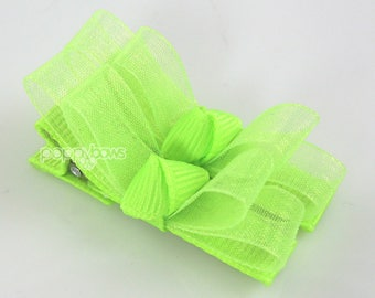 Baby hair clips, neon green hair clips, neon hair bows, pigtail bows, small girls hair bows, sheer tuxedo bow special occasion barrettes
