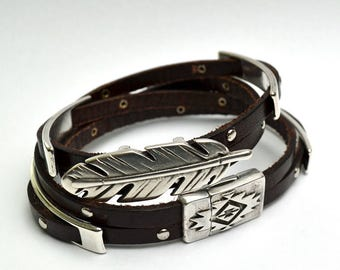 Spanish brown leather wrap bracelet with silver metal sliders magnetic clasp