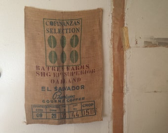 extra large burlap bag wall decor | used coffee burlap home decor | farmhouse kitchen decor | country kitchen burlap wall decor | cafe decor