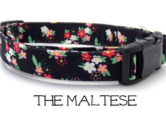 Black Floral Dog Collar, The Maltese, Girl Dog Collar, Flower Dog Collar, Cute Dog Collar, Dog Gift, Puppy, Black and Pink Floral Dog Leash