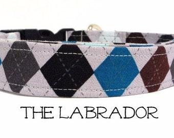 Argyle Dog Collar, The Labrador, Gray Dog Collar, Preppy Dog Collar, Boy Dog Collar, Dog Gift, Puppy Gift, Leah available, Dog Collar