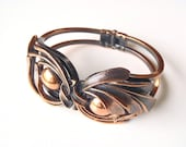 Vintage Copper Bracelet Stylized Floral Leaves Design Unsigned Front Opening Clamper Style Spring Closure Jewelry in Great Condition
