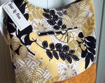 "Jungle Floral Bucket Bag / Cross-body Bag / Retro Print / Cork ""Leather"" / Swoon Bonnie"