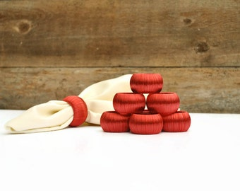 Red Napkin Rings - Set of 8 - Red Home Decor for Dining and Entertaining