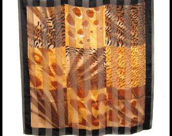 "Multi-Color Animal Print Scarf / Black Brown Orange Gold / Large 40"" Polyester Square / Vintage 1990s / Giraffe Zebra Tiger Cheetah Stripes"