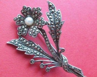 On Sale Vintage Sterling Silver Marcasite British Flower Pin By G T Jewelers Birmingham  1964 Hallmark