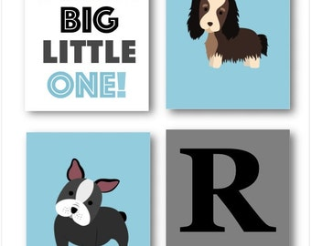 DOG Nursery Wall Art,  Baby Boy Nursery Artwork, Puppy Art, Boy Bedroom Decor, Dog Theme, Dog Pictures Four PRINTS ONLY