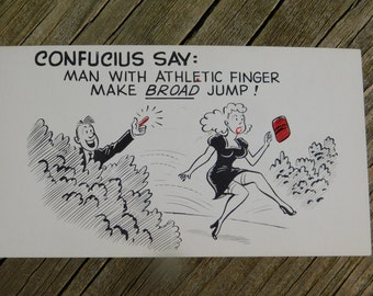 1950's 60's Original Magazine or Greeting Cards Risque Cartoon That reads Confucius Says