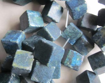 Blue Yellow Turquoise Cube Beads 22x22mm 10 Beads