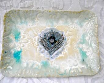Peacock Feather tray, Cream ceramic platter, Moroccan Decor, appetizer plate, India Decor, decorative tray, Ceramic tray, Vanity Tray, dish