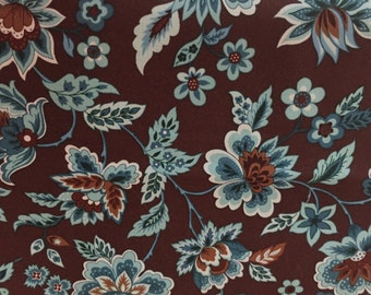 END OF BOLT,  Marcus Brothers Fabric, Floral, Turquoise and Brown Fabric