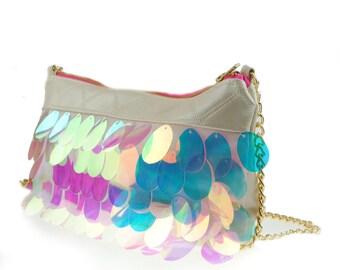 ANGELICA giant iridescent sequin handbag.