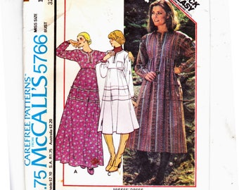 McCalls 5766 High Waisted Pullover Dresses Three Styles Hippie Cool Size 10 Uncut