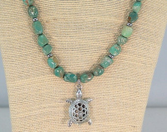 Turquoise necklace, turtle pendant, hypoallergenic jewelry, tortoise jewelry, gifts under 60, ooak gift for her, gemstone jewelry