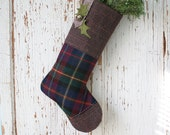 Purple Plaid CHRISTMAS STOCKING, with Silver Bell, Holly Leaves