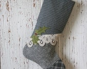 Reserved for Alex - Gray Tweed Christmas Stocking