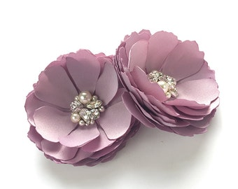 Vintage Lilac Flower Hair Pins - Shoe Clips, Brooch for a Bride Bridesmaid with Swarovski Sew on Crystal Special Event Photo Prop Kia