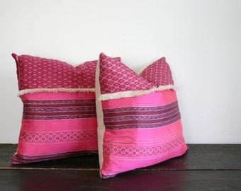 Woven Bright Pink Silk Ikat Throw Pillow