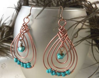 Antique Copper Pipa Knot Earrings