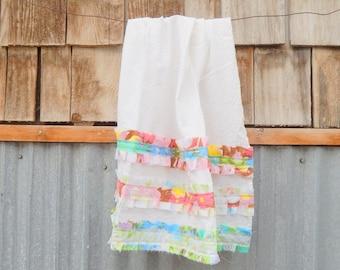 Dish Towel, White Flour Sack Tea Towel, Upcycled Embellishment