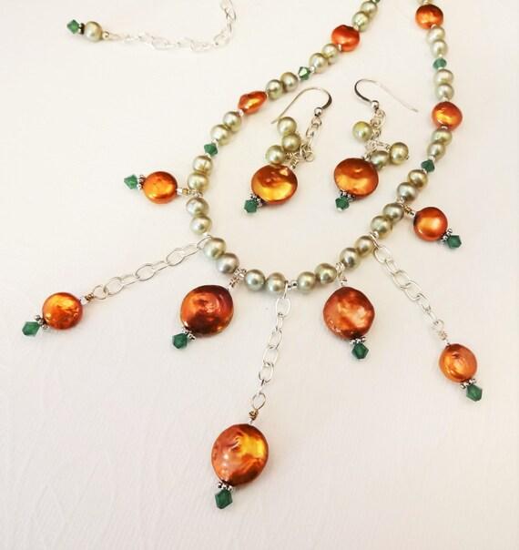 Copper and Green Pearl Bib Necklace