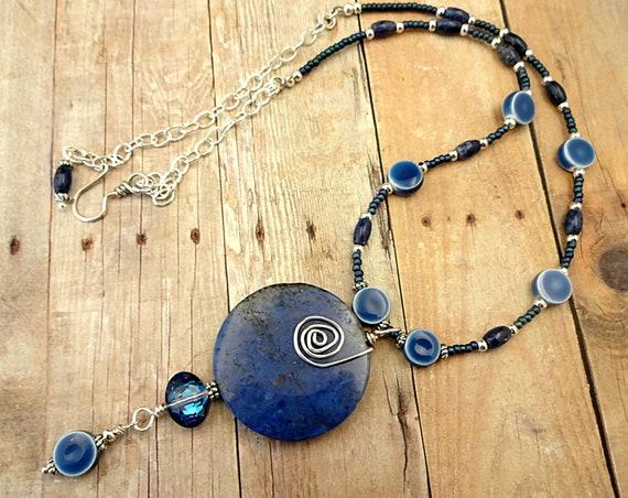 Blue Dumortierite and Ceramic Necklace