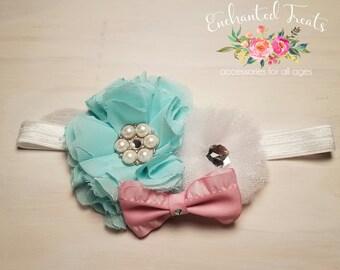 Shabby Chic Chiffon Tulle Headband, Shabby Chic, Baby Girl Headband, Baby Shower, Infant Headband, Chiffon Flower, Tulle Flower, Baby