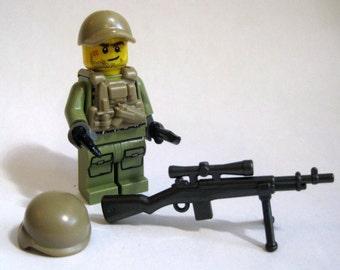 Custom Genuine LEGO USA Sniper Minifigure -Military- w/ Brickarms Custom Accssories