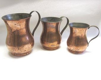 Graduating Copper Cups Brass Handled Tankards Set of 3
