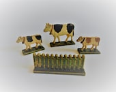 Antique Vintage Erzgebirge Cows and Fence Hand Painted German Wood Toys Christmas Putz