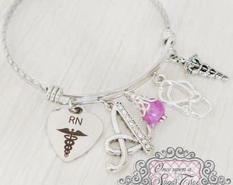 RN Gifts, Nursing Gifts- Graduation- Medical Bracelet, Personalized Initial charm Bangle Bracelet, CNA,Jewelry, College, Stethoscope Charm