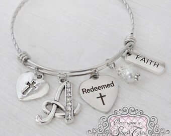 REDEEMED JEWELRY - Baptism gift for her - Christian Bangle Bracelet- Faith Jewelry- Cross-Expandable Personalized Bangle, Religious Gift