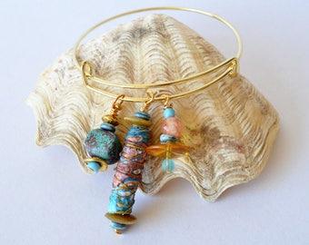 boho beaded bracelet, hippie jewellery, boho expandable bangle, festival jewellery, Tyvek jewellery, handmade beaded bracelet, blue-gold