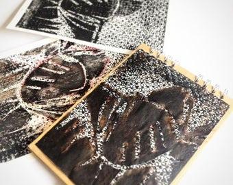 artist gift art decor  art print mono print art notebook sketchbook scrapbook book  handmade sketchbook handmade print travelers journal