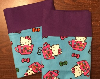 Hello Kitty pillow case set made with100% cotton flannel Standard size available deep purple  cuff