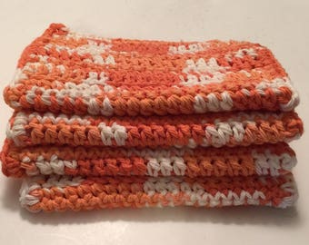 4 Large dish cloths made with 100% cotton yarn in the color Poppy