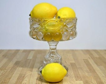 Vintage Clear Glass Compote Fruit Dish Pedestal Round Home Decor