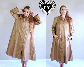 Sale vtg 80s khaki AVANT GARDE Trapeze rain coat TRENCH os swingy jacket outerwear