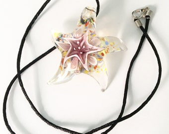 Multicolored lampwork glass starfish necklace